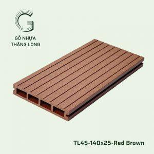 Sàn Gỗ Nhựa Ngoài Trời TL4S-140x25-Red Brown
